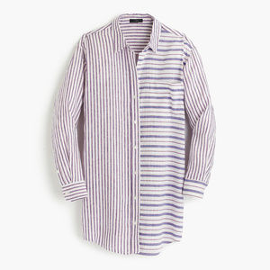 J. CREW Striped button-up tunic beach cover up